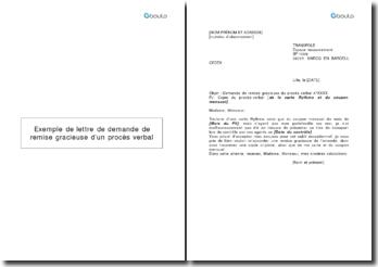 Exemple de lettre de demande de remise gracieuse d'un procès verbal reçu dans les transports en commun