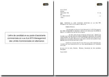 Lettre de candidature au poste d'assistante commerciale en vue d'un BTS Management des Unités Commerciales en alternance