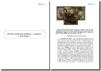 Otto Dix, analyse du triptyque « La guerre »