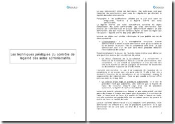 Les techniques juridiques du contrôle de légalité des actes administratifs