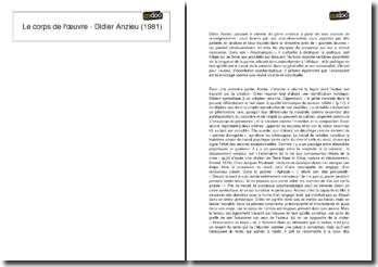 Le corps de l'oeuvre - Didier Anzieu (1981)
