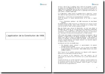 L'application de la Constitution de 1958