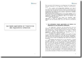 Les règles applicables et l'importance des négociations collectives