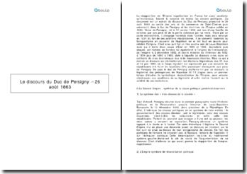 Le discours du Duc de Persigny - 26 août 1863
