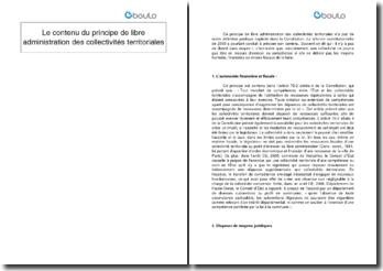 Le contenu du principe de libre administration des collectivités territoriales