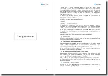 Les quasi-contrats du Code civil et d'origine jurisprudentielle