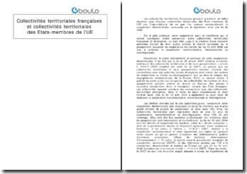Collectivités territoriales françaises et collectivités territoriales des États-membres de l'Union européenne