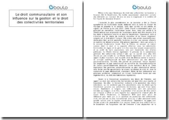 Le droit communautaire et son influence sur la gestion et le droit des collectivités territoriales