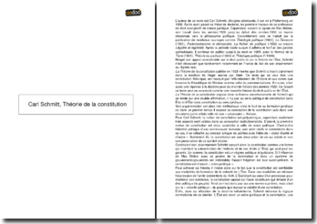 Théorie de la Constitution - Carl Schmitt