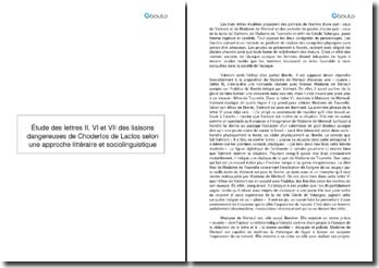Étude des lettres II, VI et VII des liaisons dangereuses de Choderlos de Laclos selon une approche littéraire et sociolinguistique