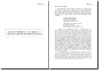 Le lai du Rossignol (« Le Laüstic »), texte issu des Lais de Marie de France