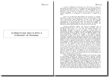 Le Misanthrope dans la lettre de Rousseau à D'Alembert