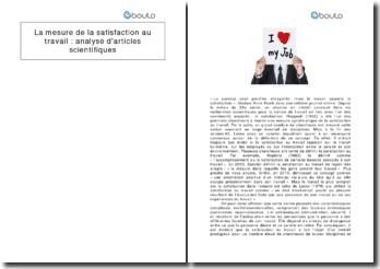 La mesure de la satisfaction au travail : analyse d'articles scientifiques