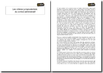 Les critères jurisprudentiels du contrat administratif