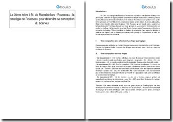 La 3ème lettre à M. de Malesherbes - Rousseau : la stratégie de Rousseau pour défendre sa conception du bonheur