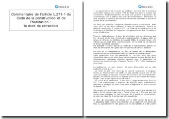 Commentaire de l'article L.271-1 du Code de la construction et de l'habitation : le droit de rétraction
