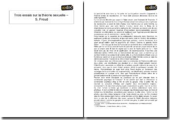 Trois essais sur la théorie sexuelle - S. Freud