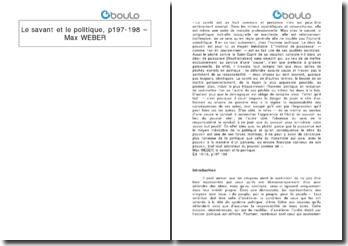 Le savant et le politique, p197-198 - Max Weber