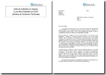 Lettre de motivation en réponse à une offre d'Assistant au SCOT (Schéma de Cohérence Territoriale)