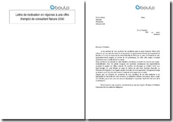 Lettre de motivation en réponse à une offre d'emploi de consultant Natura 2000