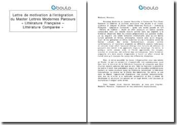 Lettre de motivation à l'intégration du Master Lettres modernes parcours « Littérature française - Littérature comparée »