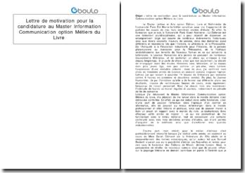 Lettre de motivation pour candidater au Master Information Communication option Métiers du Livre