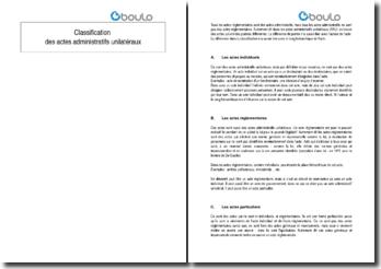 Classification des actes administratifs unilatéraux