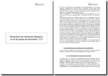 Déclaration du chancelier Maupéou au lit de justice de décembre 1770