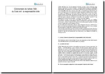 Commentaire de l'article 1382 du Code civil : la responsabilité civile