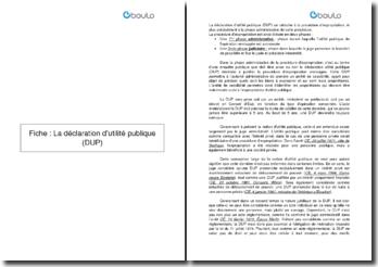 La déclaration d'utilité publique (DUP)