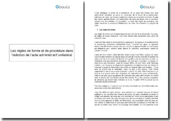 Les règles de forme et de procédure dans l'édiction de l'acte administratif unilatéral