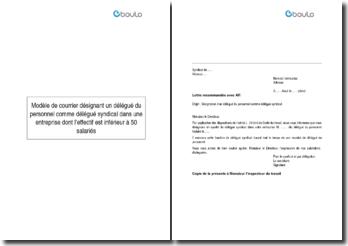Modèle de courrier désignant un délégué du personnel comme délégué syndical dans une entreprise dont l'effectif est inférieur à 50 salariés