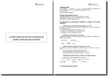 La détermination du pH de la composition de solutions acido-basiques aqueuses