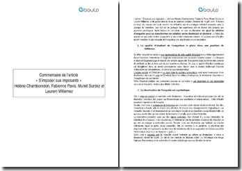 Commentaire de l'article S'imposer aux imposants - H. Chamboredon, F. Pavis, M. Surdez et L. Willemez