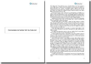 Commentaire de l'article 1641 du Code civil