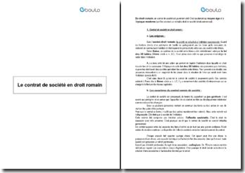 Le contrat de société en droit romain