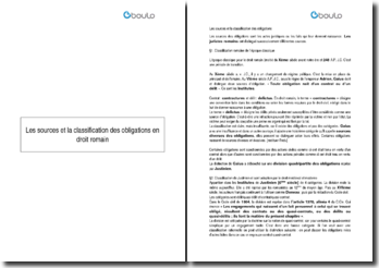 Les sources et la classification des obligations en droit romain