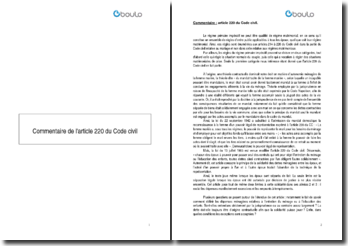 Commentaire de l'article 220 du Code civil