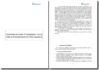 Commentaire de l'article 101 paragraphes 1 et 2 du Traité sur le fonctionnement de l'Union européenne