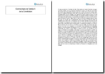 Commentaire de l'article 5 de la Constitution