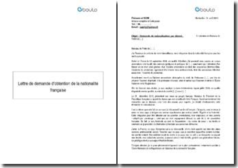 Lettre de demande d'obtention de la nationalté française