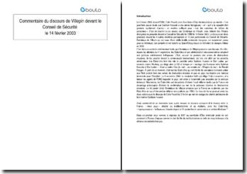 Commentaire du discours de Villepin devant le Conseil de Sécurité le 14 février 2003