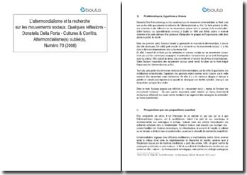 L'altermondialisme et la recherche sur les mouvements sociaux. Quelques réflexions - Donatella Della Porta - Cultures & Conflits, Altermondialisme(s) oublié(s), Numéro 70 (2008)