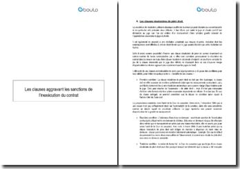 Les clauses aggravant les sanctions de l'inexécution du contrat