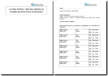 La liste d'initiés : liste des salariés et modèle de lettre d'avis d'inscription