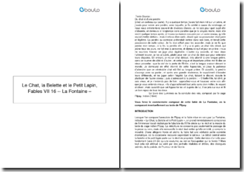 Le Chat, la Belette et le Petit Lapin, Fables VII 16 - La Fontaine