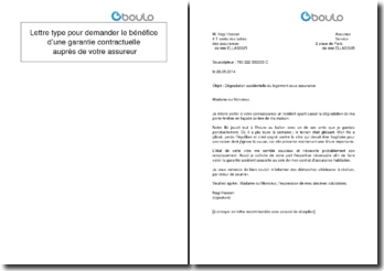 Lettre type pour demander le bénéfice d'une garantie contractuelle auprès de votre assureur