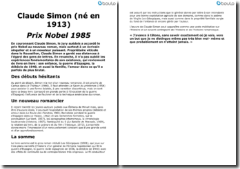 Claude Simon, prix Nobel 1985