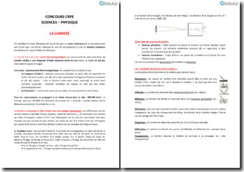 Concours de recrutement de professeur des écoles (CRPE) en sciences physiques : la lumière