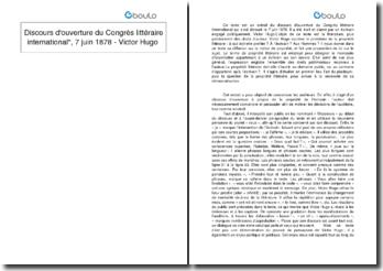 Discours d'ouverture du Congrès littéraire international, 7 juin 1878 - Victor Hugo
